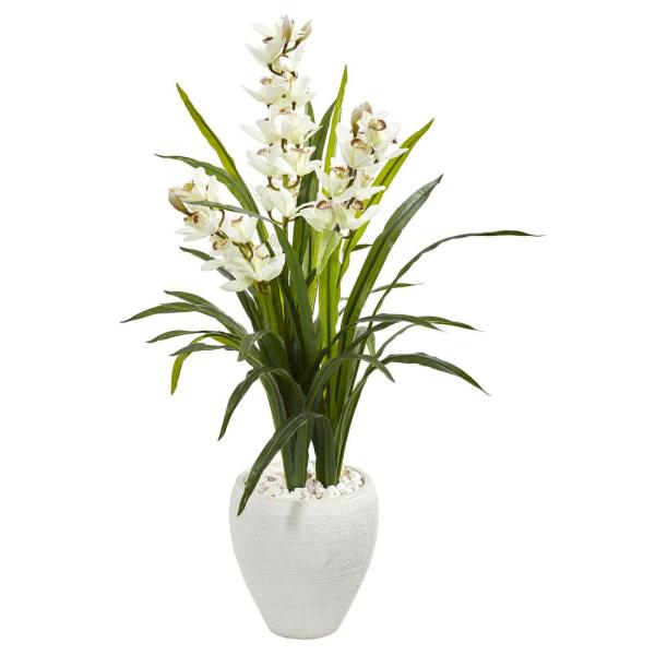 Nearly Natural Indoor 4 Cymbidium Orchid Artificial Plant in White Planter