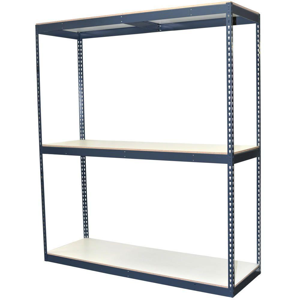 84 in. H x 72 in. W x 24 in. D 3-Shelf Bulk Storage Steel Boltless Shelving Unit w/Double Rivet Shelves & Laminate Board
