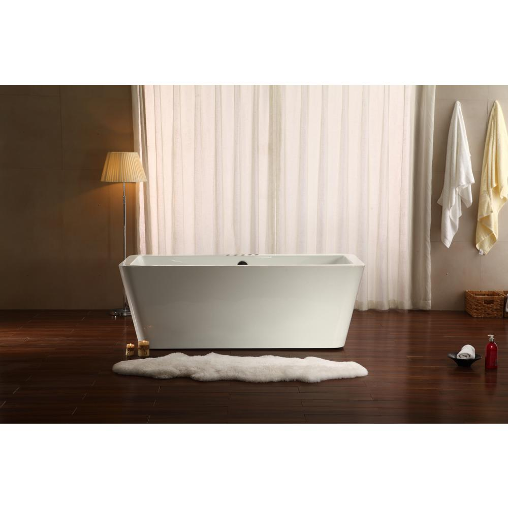 Streamline 66.9 in. Acrylic Flatbottom Non-Whirlpool Bathtub in White