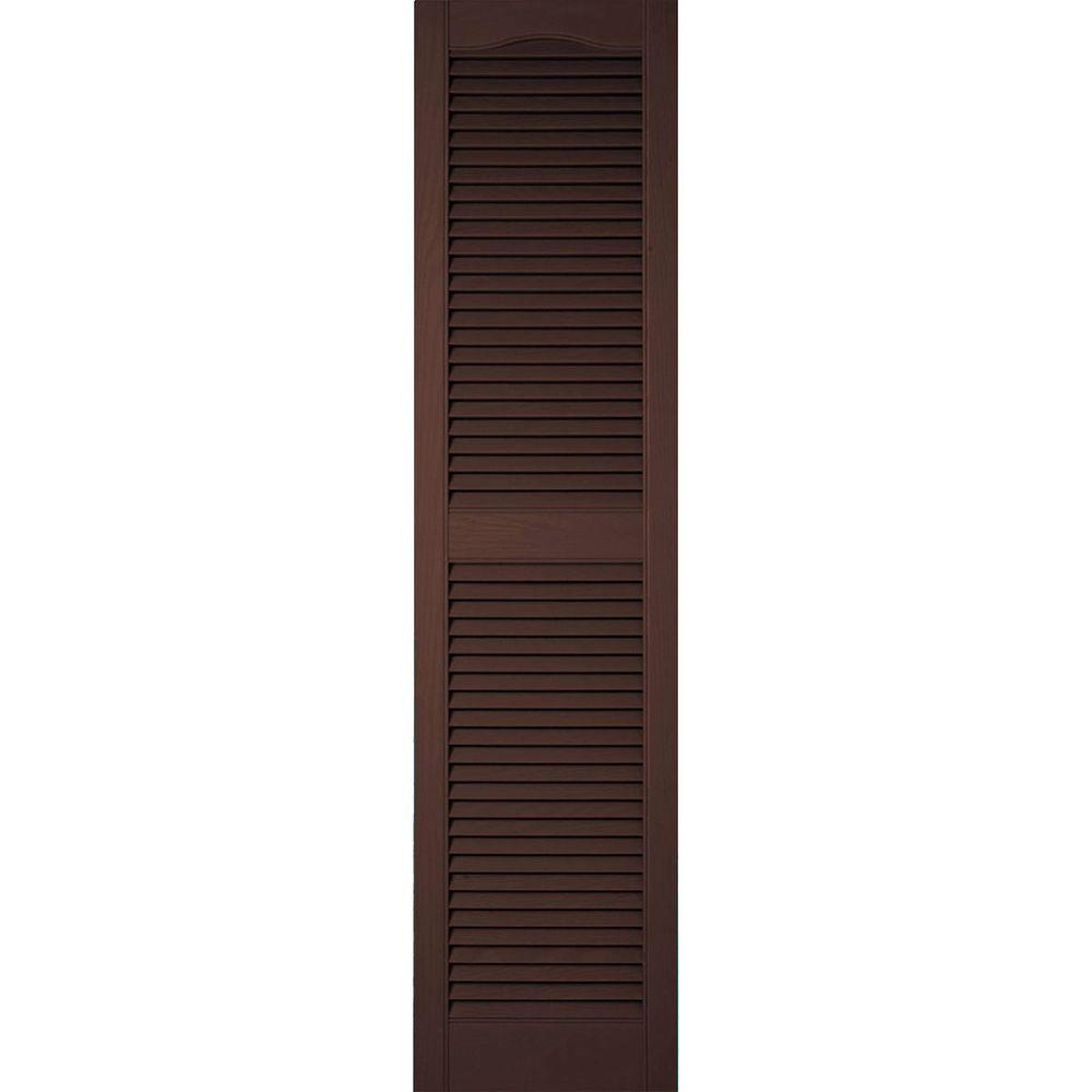 Ekena Millwork 14-1/2 in. x 64 in. Lifetime Vinyl Standard Cathedral Top Center Mullion Open Louvered Shutters Pair Federal Brown