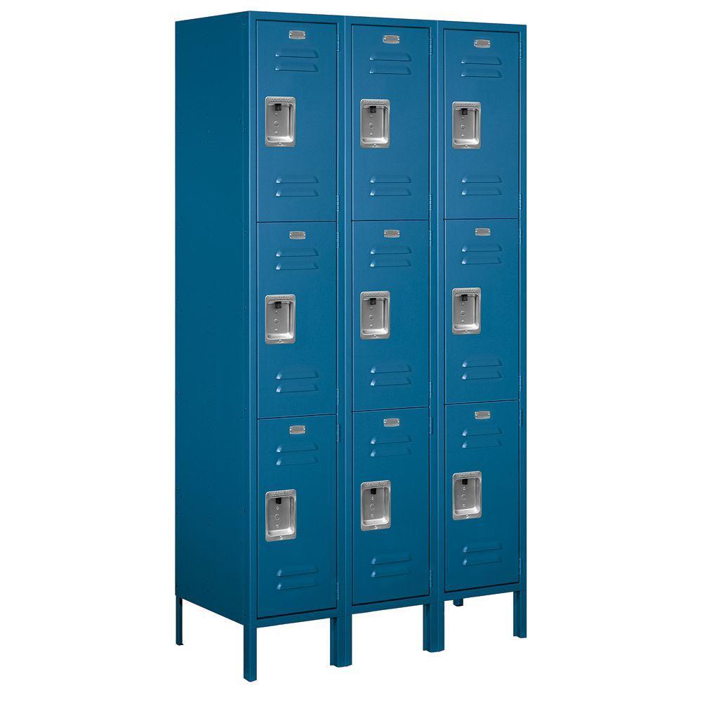 Salsbury Industries 53000 Series 45 in. W x 78 in. H x 18 in. D Triple Tier Extra Wide Metal Locker Assembled in Blue