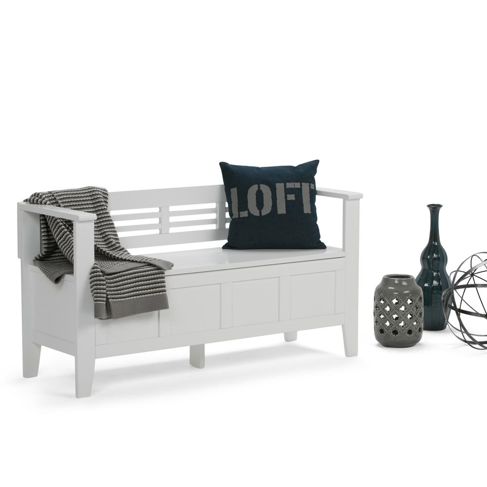 Simply Home Adams White Storage Bench