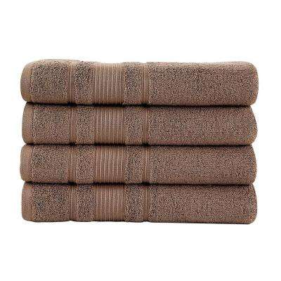 Pure Turkish Cotton Collection 27 in. W x 52 in. H Luxury Bath Towel in Brown (Set of 4)