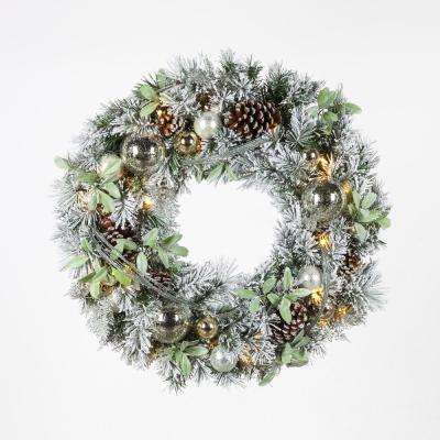 30 in. Pre-Lit LED Artificial Christmas Flocked Wreath with Ornaments and Mistletoe