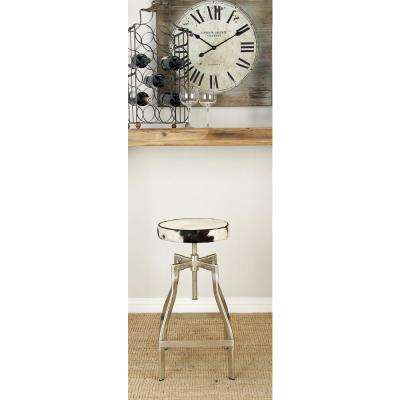 29 in. White with Spattered Black Leather Hide Adjustable Bar Stool