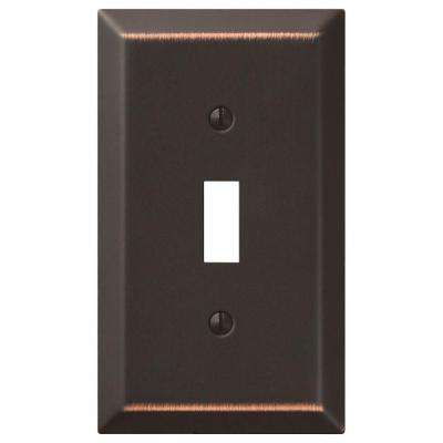 Metallic Steel 1 Toggle Wall Plate - Oil-Rubbed Bronze Cast