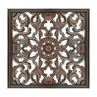 Burnt Brown Square Shape Panel with Filigree Carvings Wooden Wall