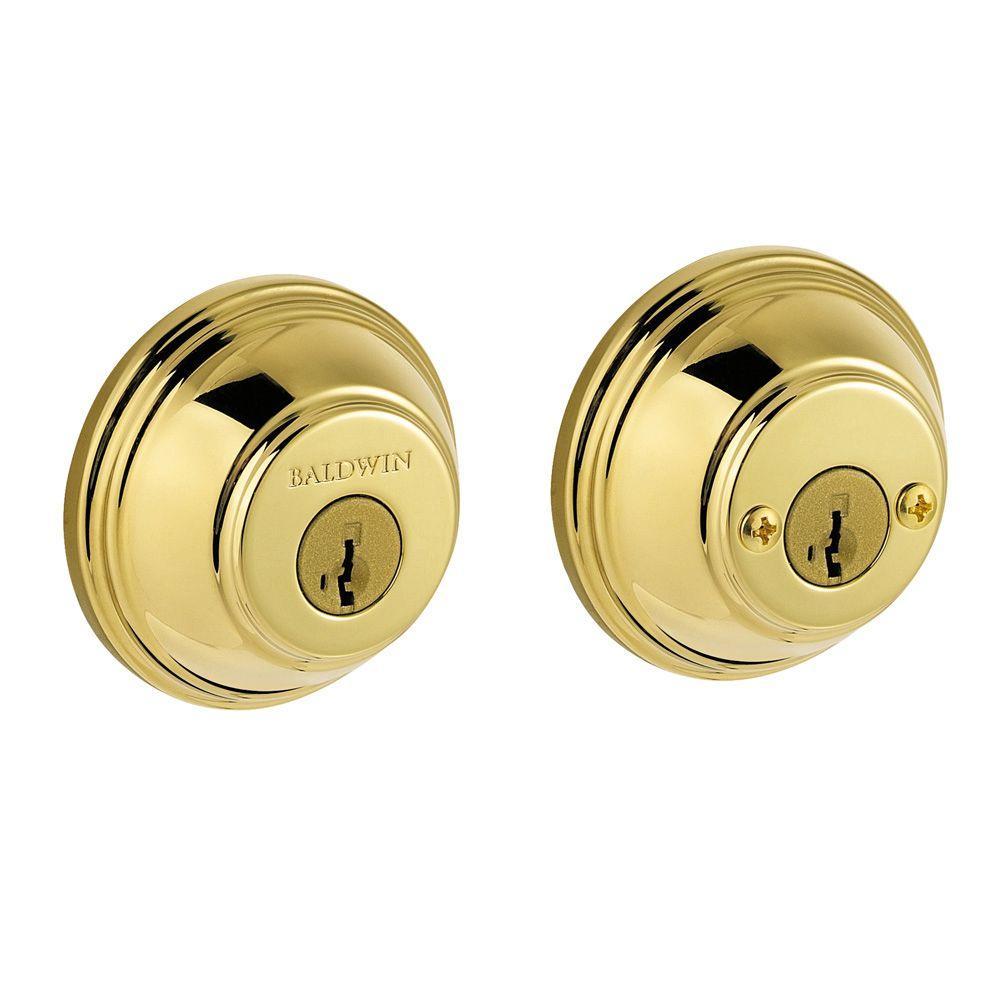 prestige double cylinder polished brass round deadbolt featuring smartkey