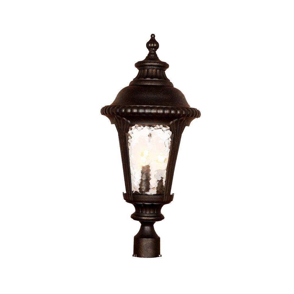 Surrey 3-Light Black Gold Outdoor Post Light Fixture
