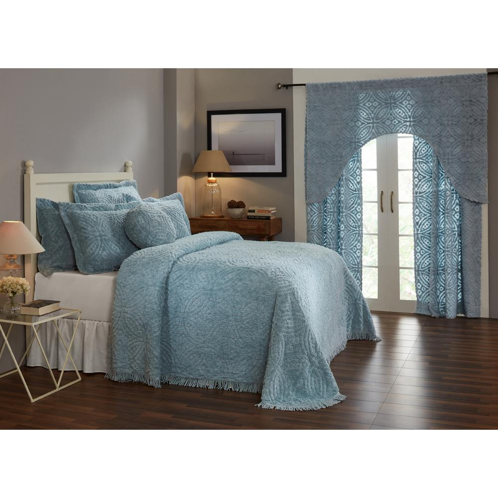 Double Wedding Ring Collection & Design Blue King 100% Cotton Tufted Unique Luxurious Soft Plush Chenille Bedspread