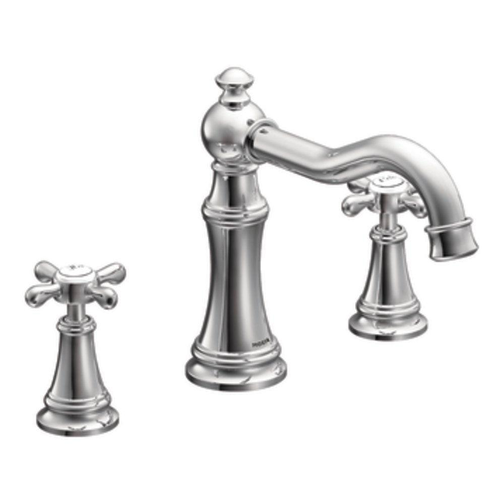 MOEN Weymouth 2-Handle Deck-Mount Roman Tub Faucet Trim Kit in Chrome (Valve Sold Separately)