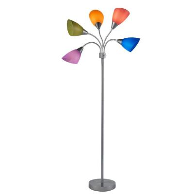 67 in. Silver 5-Arm Floor Lamp with Multi Color Shade
