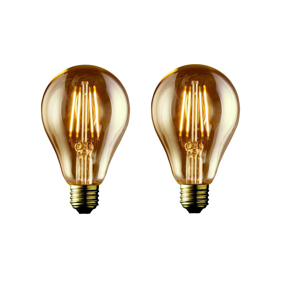 Bulbrite 40w Equivalent Amber Light A19 Dimmable Led: Archipelago 40W Equivalent Warm White A19 Amber Lens