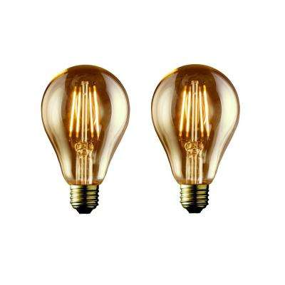 40W Equivalent Warm White A19 Amber Lens Vintage Victorian Dimmable LED Light Bulb (2-Pack)