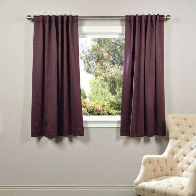 Semi-Opaque Aubergine Purple Blackout Curtain - 50 in. W x 63 in. L (Panel)