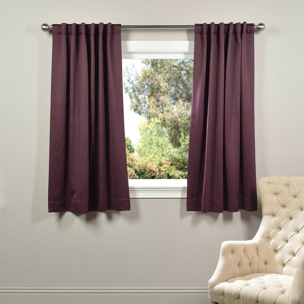 Exclusive Fabrics Furnishings Semi Opaque Aubergine Purple Blackout Curtain