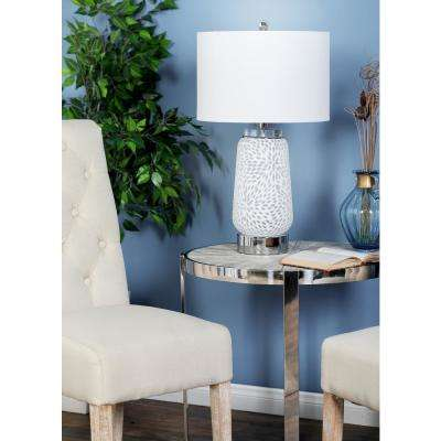 27 in. White Textured Glass Jar Table Lamp with Drum Shade