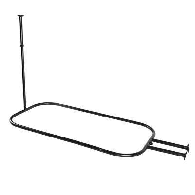 48 in. Hoop Shower Rod for Clawfoot Tub in Black