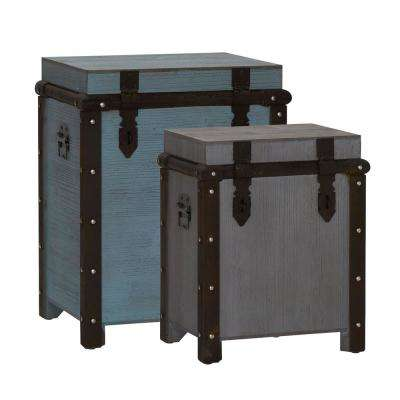Weathered Tall Seafoam, Ashgrey Trunk Set (2-Piece)