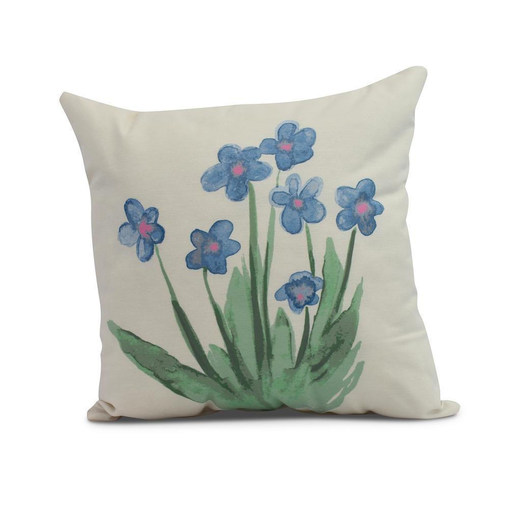 Pretty Little Flower 18 In Light Blue Decorative Floral Throw