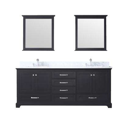 Dukes 80 in. Double Bath Vanity in Espresso w/ White Carrera Marble Top w/ White Square Sinks and 30 in. Mirrors