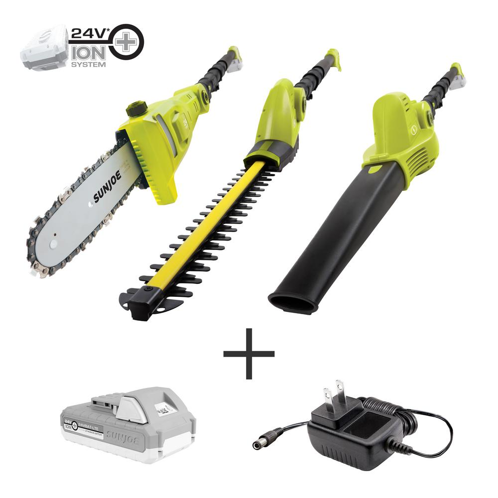 Sun-Joe 24 Volts Cordless Electric Lawn Care System Hedge Trimmer, Pole Saw, and Leaf Blower Kit w/ 2.0 Ah Battery + Charger
