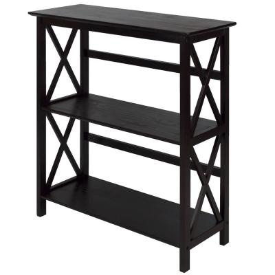 34.5 in. Espresso Wood 2-shelf Etagere Bookcase with Open Back