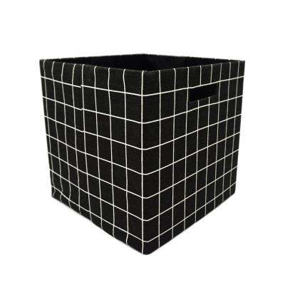 12 in. L x 12 in. W x 12 in. H Grid Pattern Fabric Foldable Storage Cube (Set of 2)