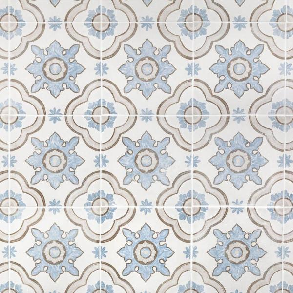 26 Pieces 11.19 Sq. Ft. // Box Matte Porcelain Encaustic Floor and Wall Tile x 8 in Valencia Beige 8 in