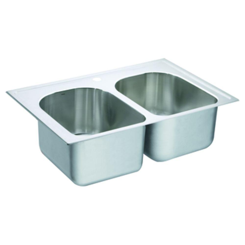 MOEN Lancelot Drop-in Stainless Steel 33x22x10 1-Hole Double Bowl Kitchen Sink-DISCONTINUED