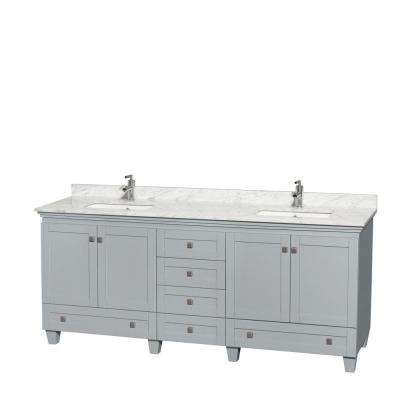 Acclaim 80 in. W x 22 in. D Vanity in Oyster Gray with Marble Vanity Top in Carrera White with White Basins