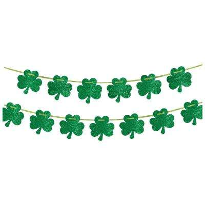 5 in. x 12 ft. St. Patrick's Day Green Paper Shamrock Banner (2-Pack)
