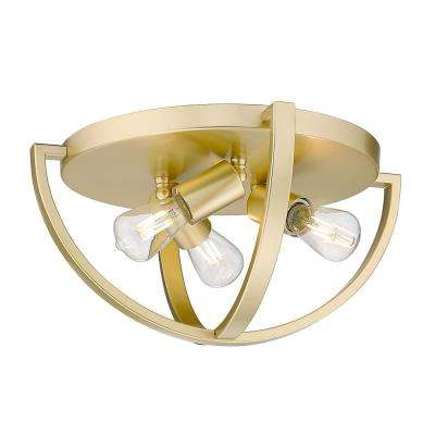 Colson 14.125 in. 3-Light Olympic Gold Flush Mount
