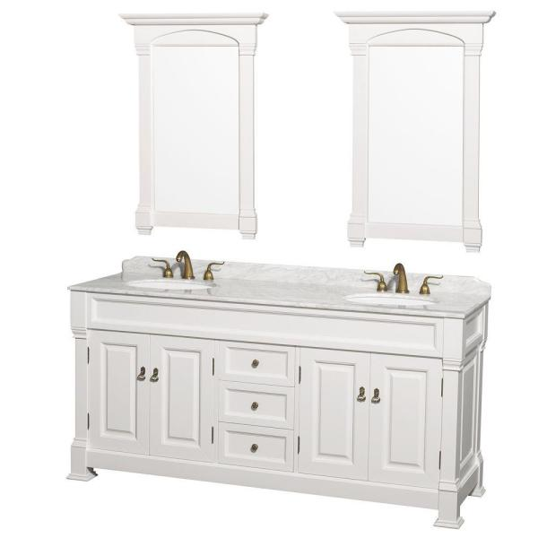 Andover 72 in. Double Vanity in White with Marble Vanity Top in Carrara White with Under-Mount Sink
