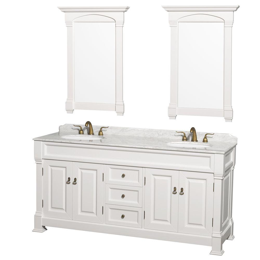 Wyndham Collection Andover 72 In. Double Vanity In White With Marble Vanity  Top In Carrara