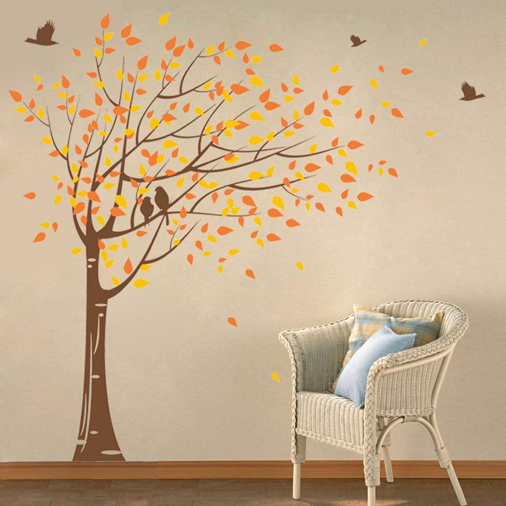 Pop Decors 75 In X 78 In Brown Trunk Yellow And Orange Leaves