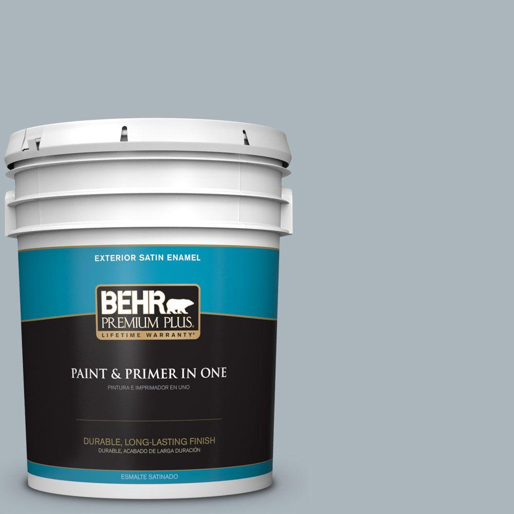 5-gal. #N490-3 Shaved Ice Satin Enamel Exterior Paint