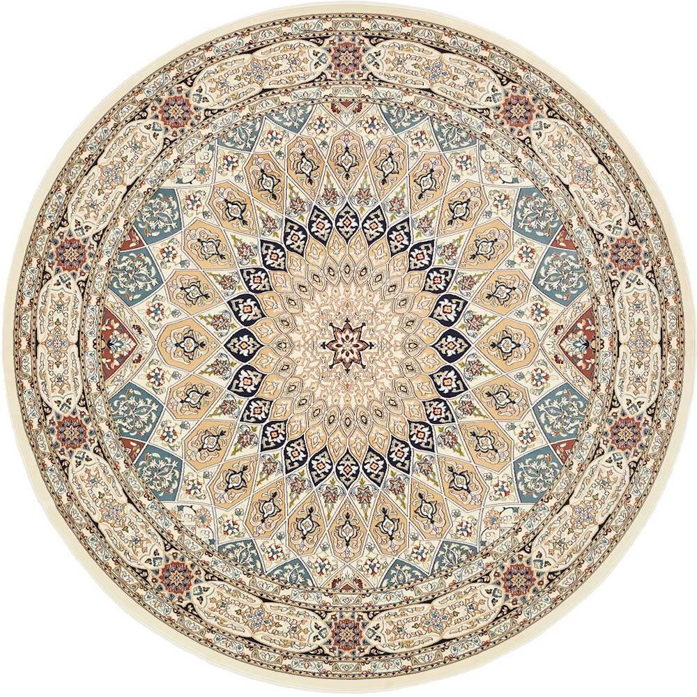unique loom nain design ivory 10 ft x 10 ft round area rug 3135756 the home depot. Black Bedroom Furniture Sets. Home Design Ideas