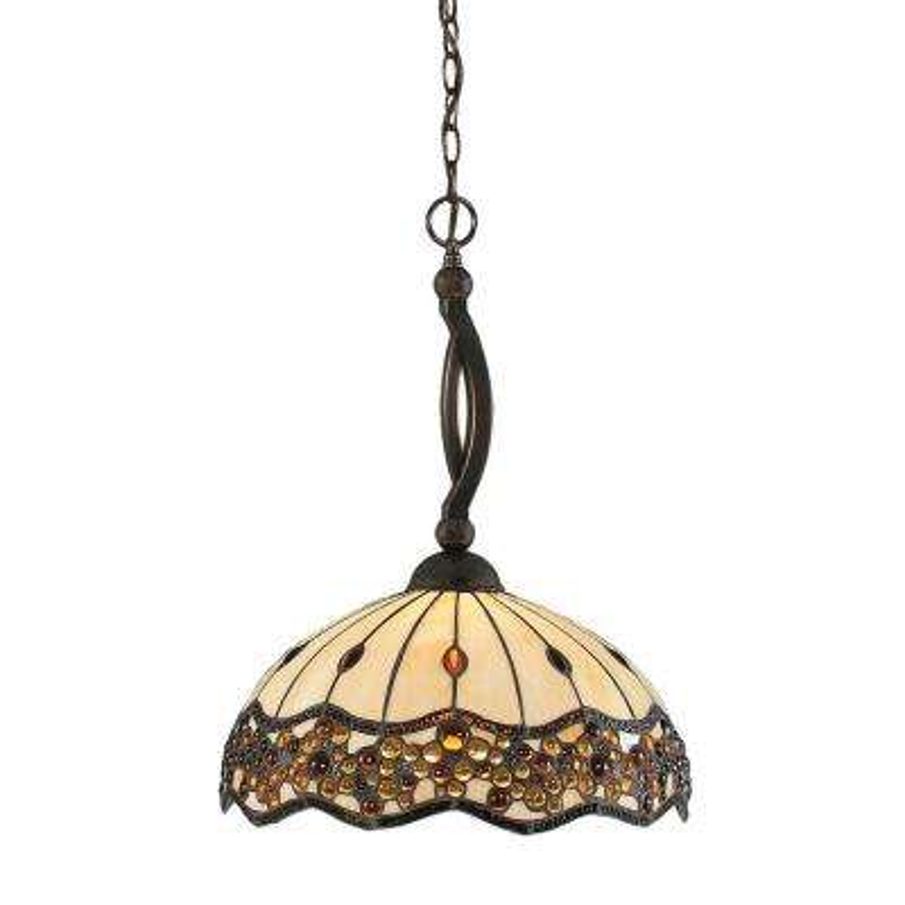 Concord 1-Light Black Copper Pendant with Roman Jewel Tiffany Glass