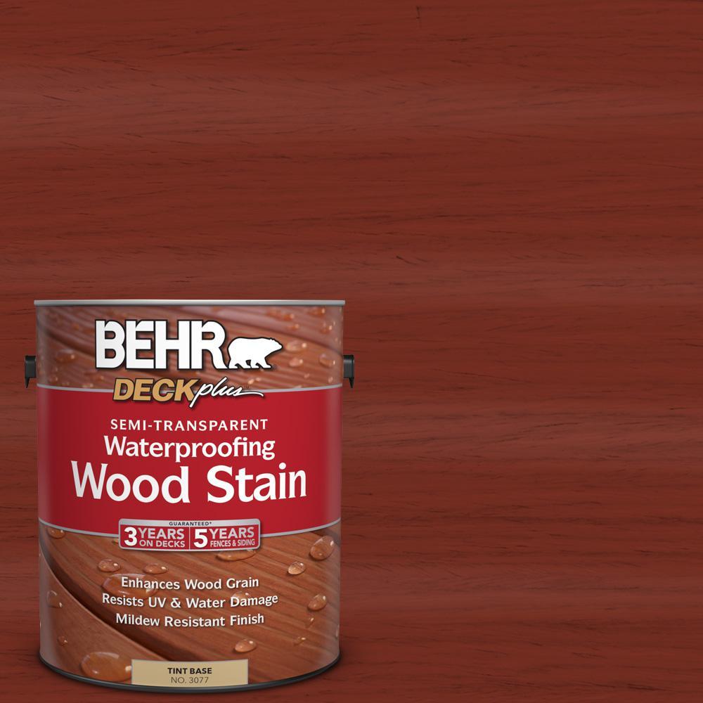 BEHR DECKplus 1 gal. #ST-330 Redwood Semi-Transparent Waterproofing Wood Stain