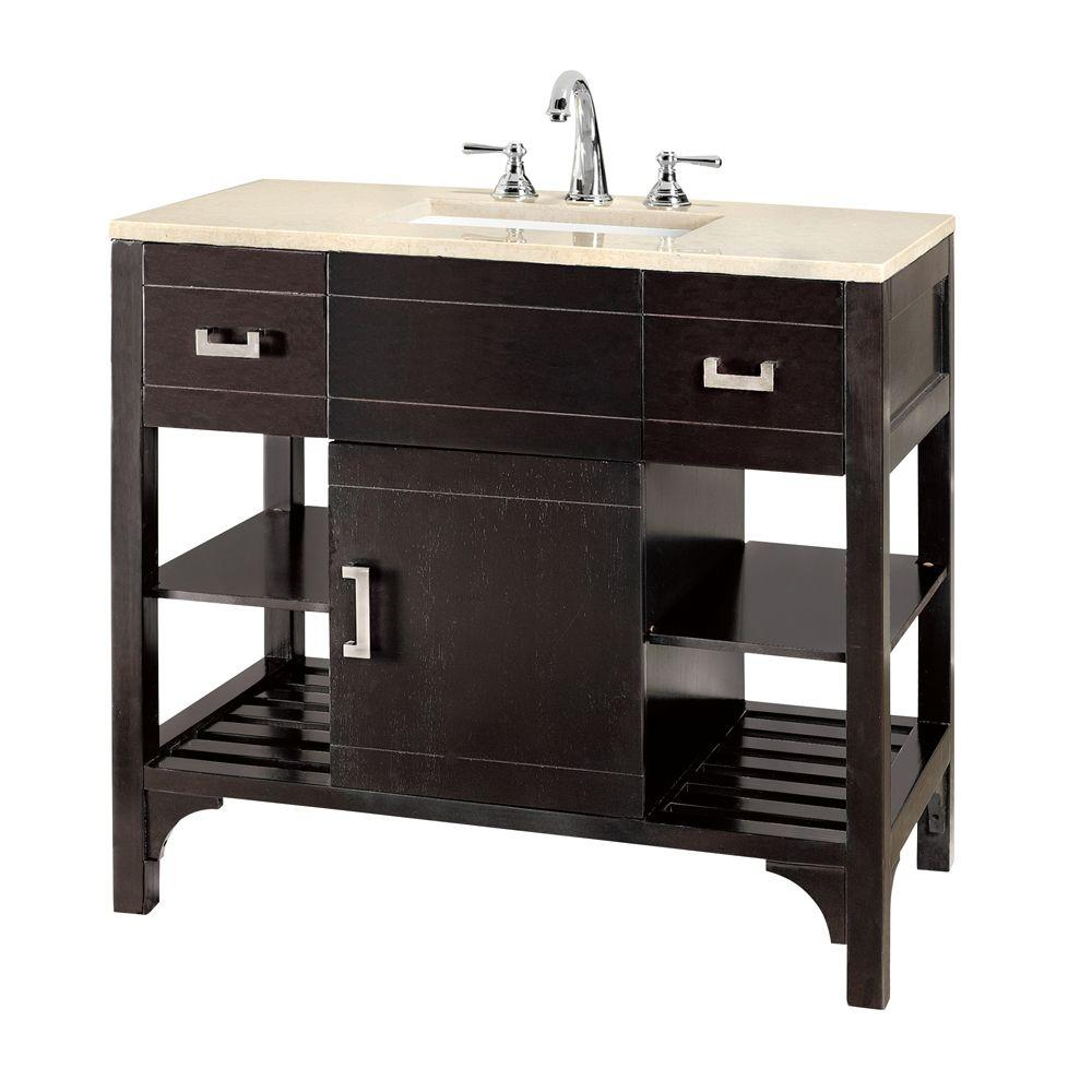 Home Decorators Collection Fairmount Espresso 36 in. W Vanity with Granite Top in White
