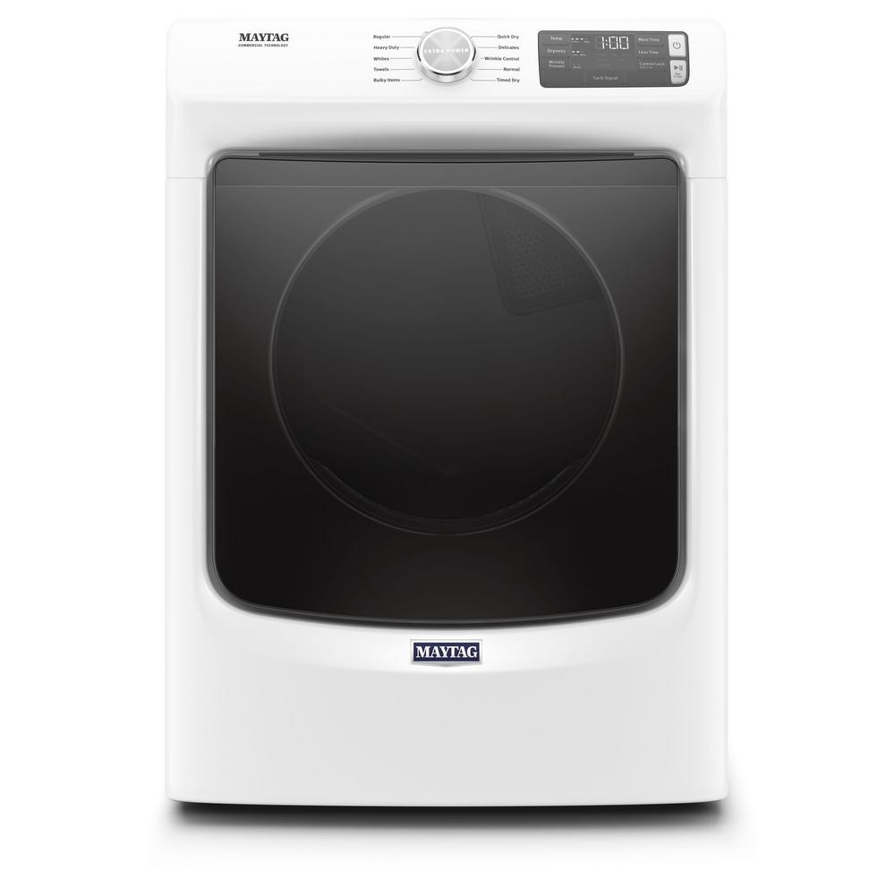 MAYTAG Maytag 7.3 cu. ft. 240-Volt White Stackable Electric Vented Dryer with Quick Dry Cycle, ENERGY STAR