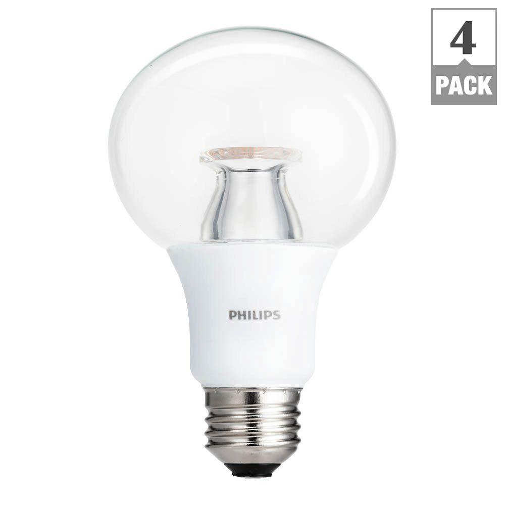 philips 60 watt equivalent g25 dimmable led soft white clear with warm glow light effect 4 pack. Black Bedroom Furniture Sets. Home Design Ideas