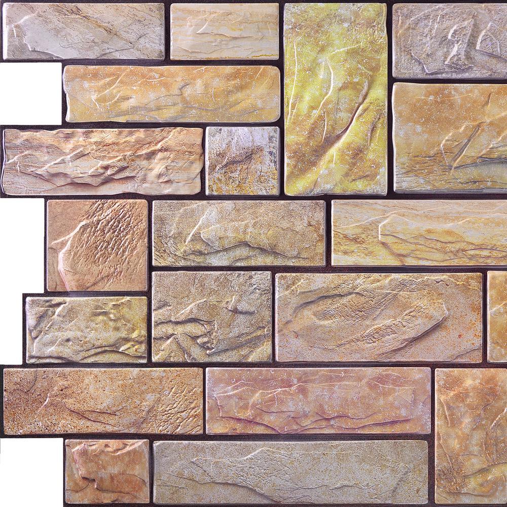3D Retro 16/1000 in. x 38 in. x 19 1/2 in. Yellow, Brown PVC Wall Panel