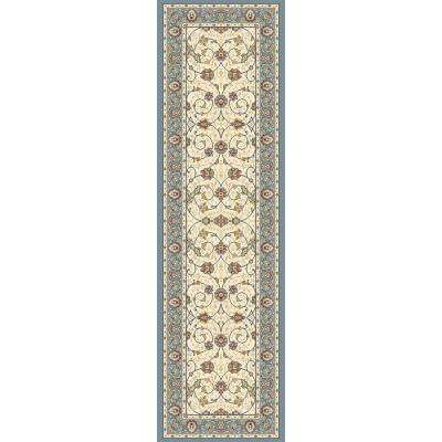 Ancient Garden Beige/Light Blue 2 ft. x 8 ft. Indoor Runner Rug