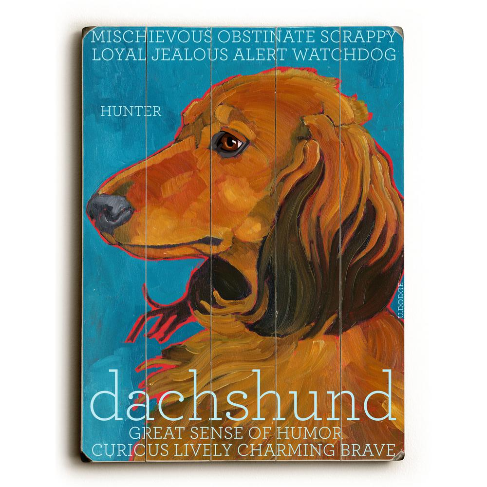 "12 in. x 16 in. ""Dachshund"" by Ursula Dodge ""Planked Wood"""