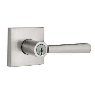 Prestige Spyglass Satin Nickel Keyed Universal Entry Door Lever Featuring SmartKey Security