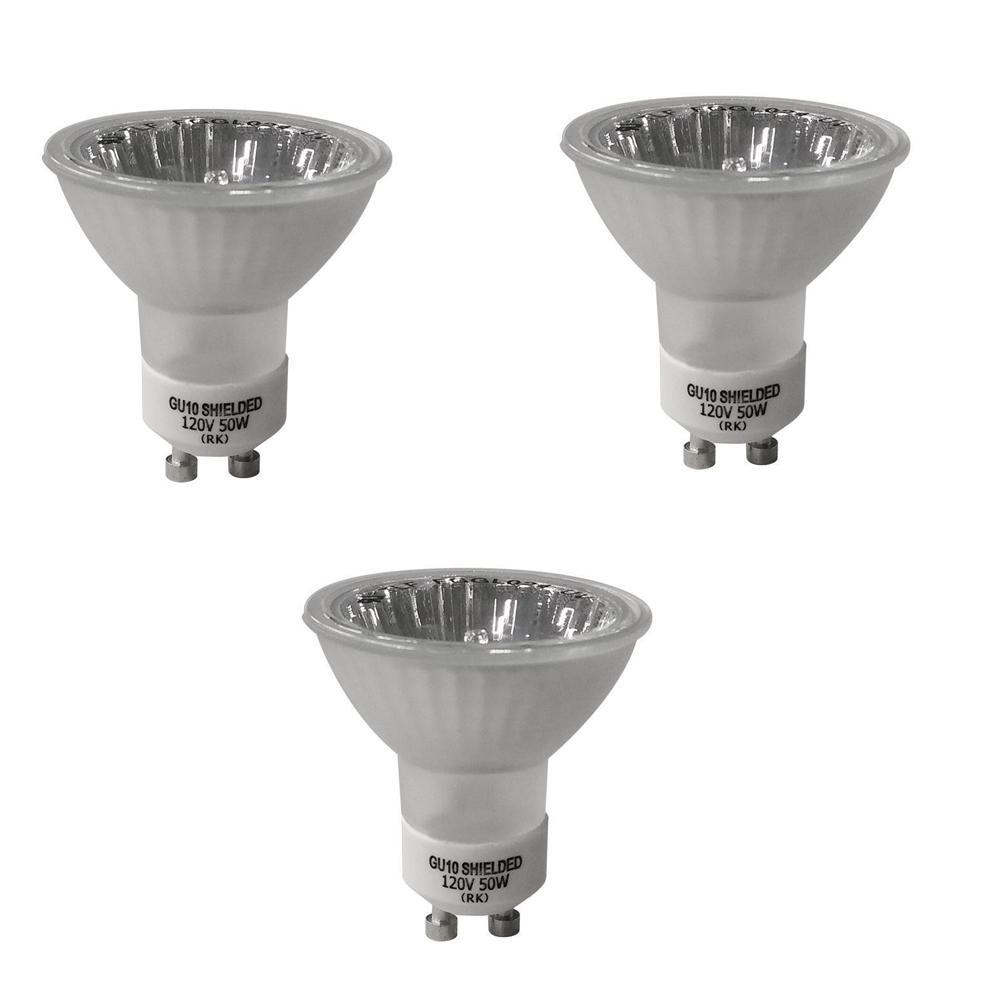 EcoSmart 50-Watt GU10-16 Partial Reflective Flood Halogen Light Bulb (3-Pack)