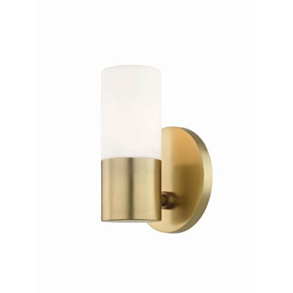 Lola 1-Light Aged Brass LED Wall Sconce with Opal Matte Glass Shade