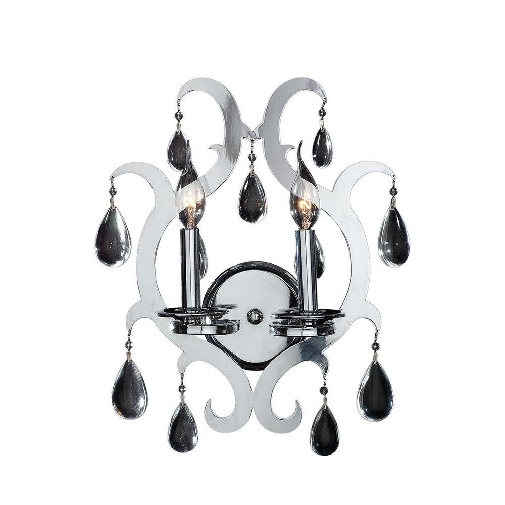 Henna Collection 2-Light Chrome Crystal Sconce